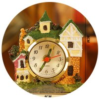 HD068 - Creative European retro resin castle mini alarm clock