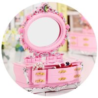 HD072 - Sweet Pink Jewelry Music Box with Cosmetic Mirror