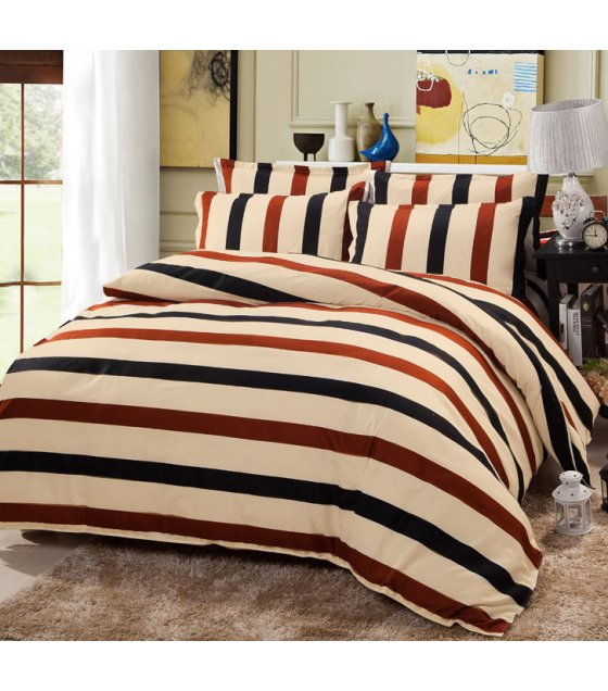 HD183 - Two Toned Luxury High Quality 4pcs Queen Bedding Set