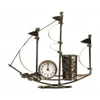 HD290 - Sailing Metal Clock  Pen Holder Ornament