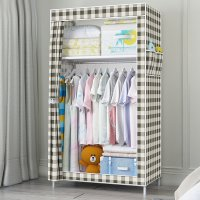 HD305 - Dustproof Wardrobe With Side Storage Pocket Home Dorm Clothes Blanket Organizer