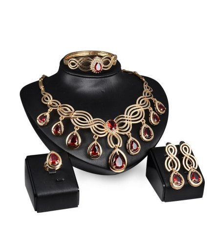 SET145 - Red Droplet Wedding Jewelry Set