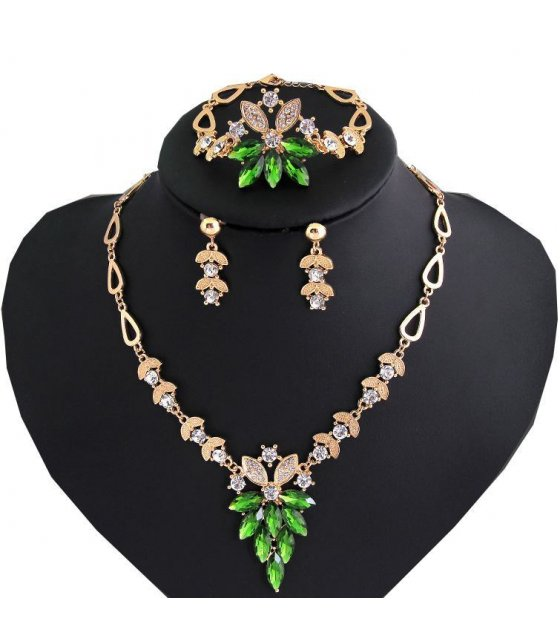 SET152 - Floral Green Jewelry Set