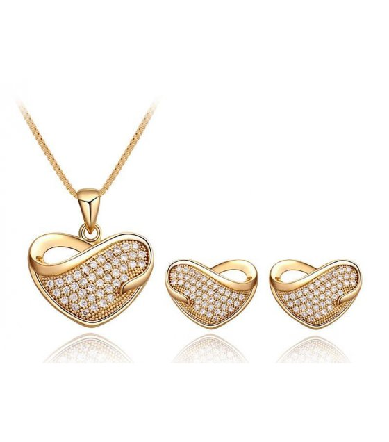 SET297 - Gold Heart Necklace Set