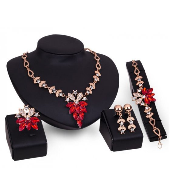 SET300 - Red Gemstone Necklace Set