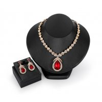 SET419 - Drop alloy diamond necklace earrings