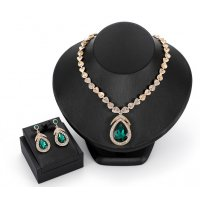 SET421 - Drop alloy diamond necklace earrings