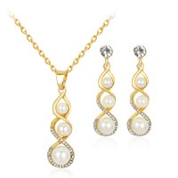 SET453 - Korean Simple Pearl Pendant Set