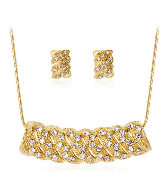 SET477 - Retro alloy diamond necklace Set