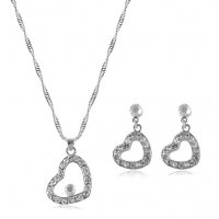 SET502 - Love Heart necklace earring jewelry set