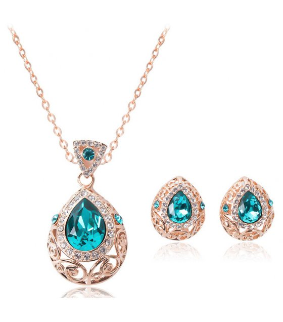 SET504 - Gem drop alloy earring necklace set