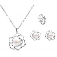 SET509 - Rose Necklace Ring Earring Set