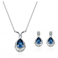 SET510 - Simple Fashion Alloy Zircon Blue Gem Earrings Necklace Jewelry Set