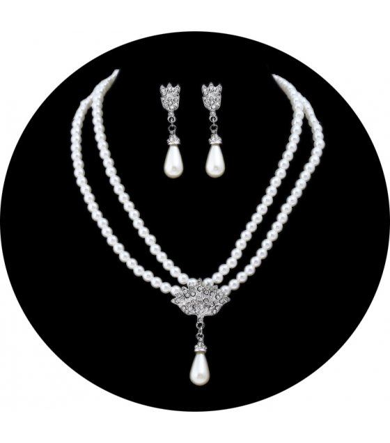 SET517 - Bride pearl crystal diamond short clavicle neck necklace set