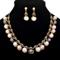 SET536 - Rhinestone pearl Jewellery Set