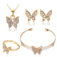 SET548 - Korean four-piece butterfly Jewellery Set