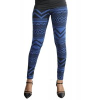 LG88 - Blue Geometrical Leggings