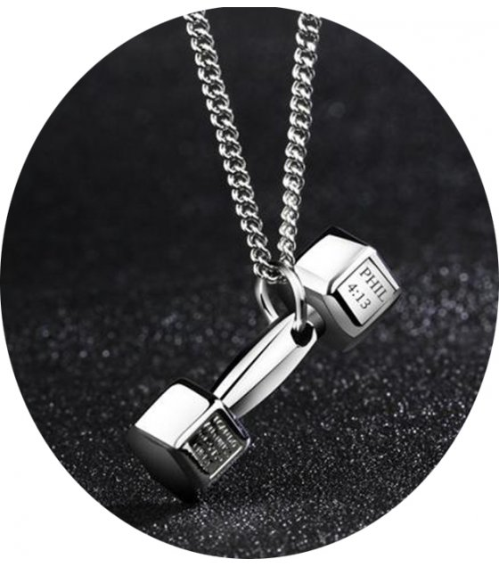 steel pendant v necklace bargains all dumbbell go now products stainless fit