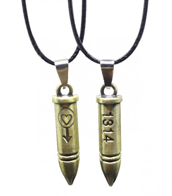 MJ006 - Engraved Bullet Stainless Steel Pendant Necklace