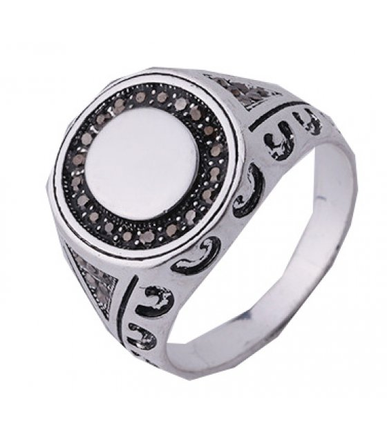 MJ044 - Two-tone diamond men's vintage ring