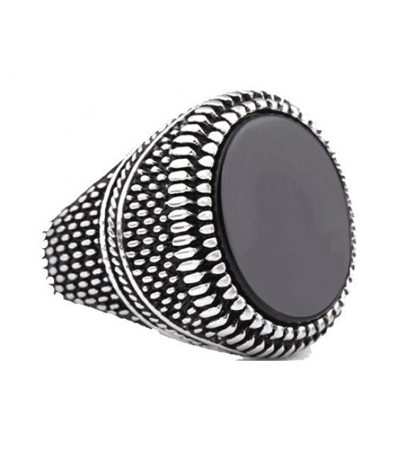 MJ052 - Inlaid black stones retro ring