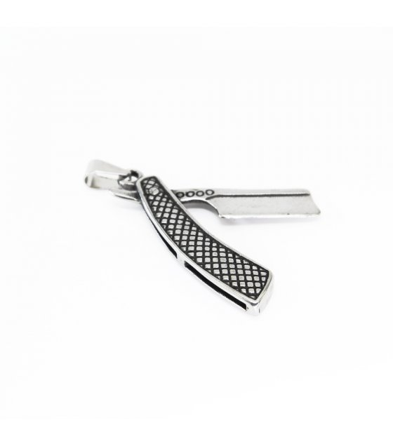 MJ080 - Korean hip hop men's titanium steel pendant razor necklace