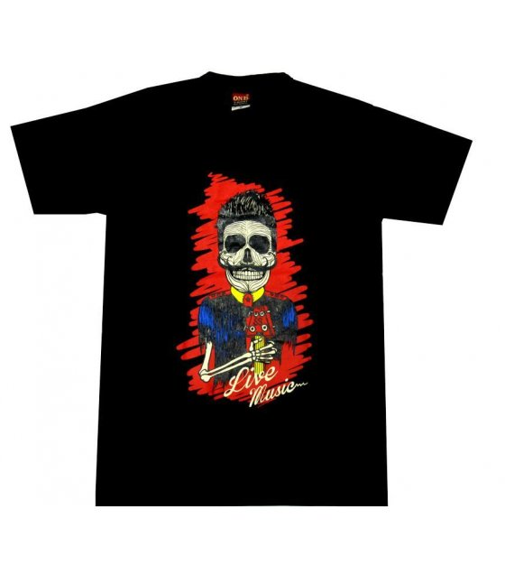 MC096 - Black Cotton Red Skull Tshirt