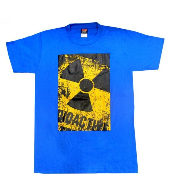 MC104 - Blue Cotton Danger Printed Tshirt