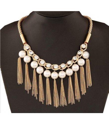 N1010 - Flash diamond tassel pearl  Necklace