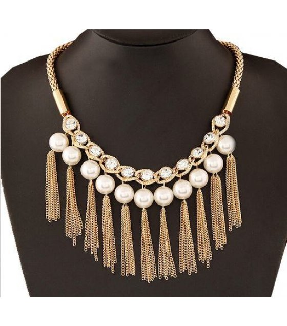 N1010 - Flash diamond tassel pearl  Necklace