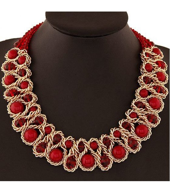 N1011 - Metal crystal pearl necklace