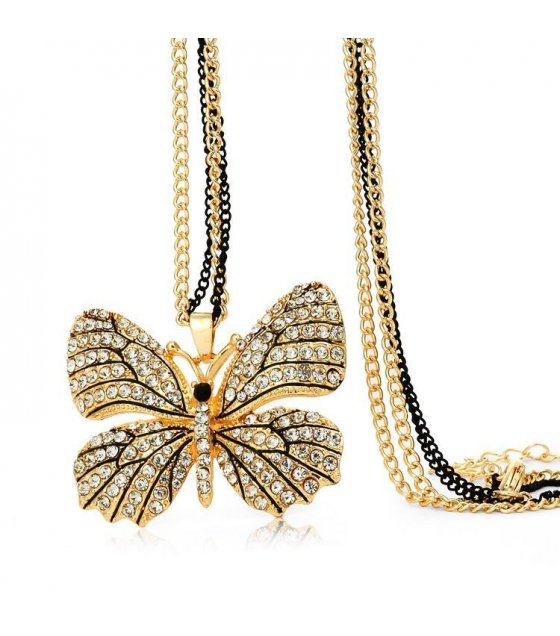 N1031 - Double upscale clothing butterfly long necklace