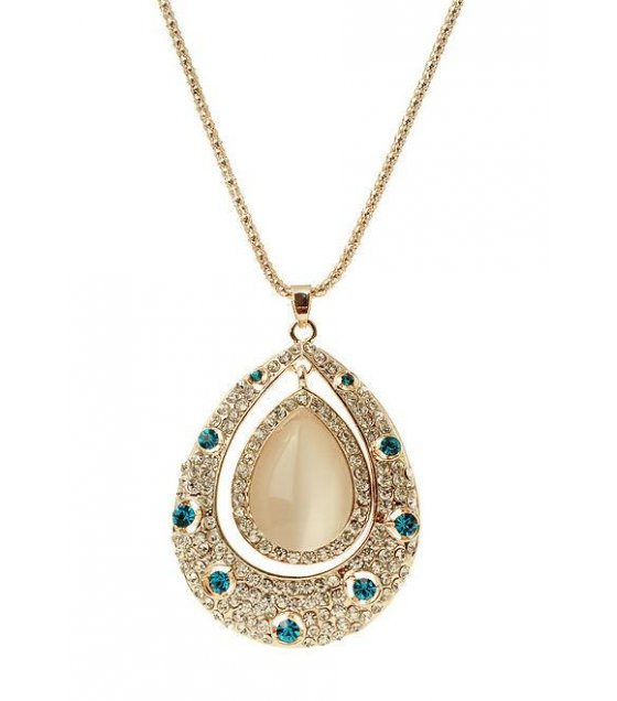 N1035 - Flash diamond necklace opal necklace long