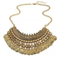 N1093 - Coin metal retro luxury  necklace