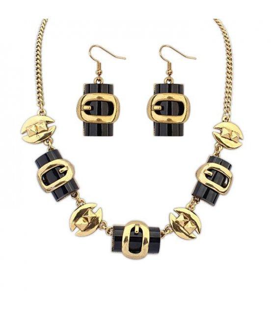 SET151 - Golden Black Trendy Necklace Set