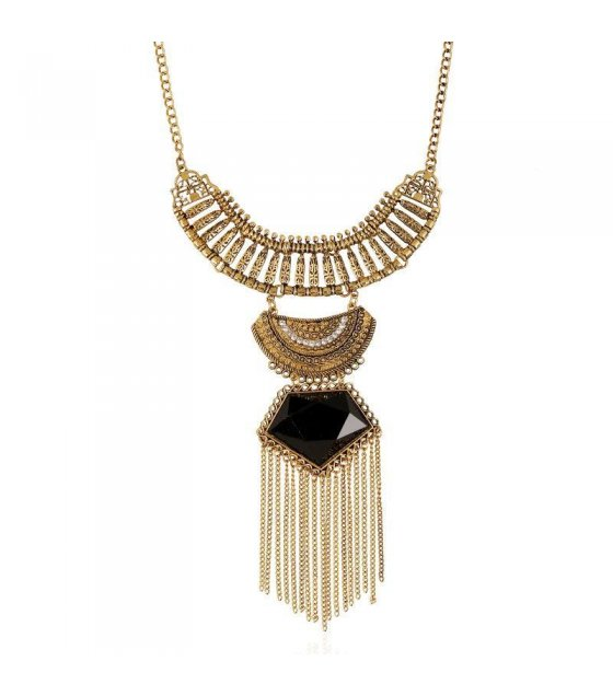 N1126 - Black Long Tassel Chunky Necklace