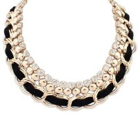 N1163 - Gold Black Trendy Necklace