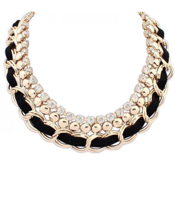 N1163 - Gold Black Trendy Necklace