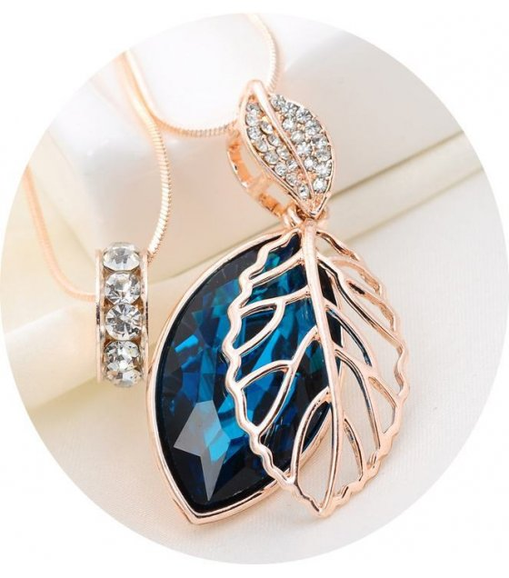 N1199 - Blue Gemstone Leaf Necklace