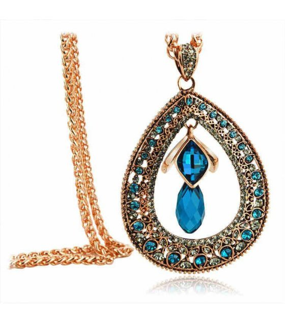N1258 - Luxurious Blue Pendant Necklace