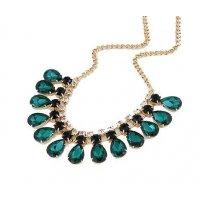 N1318 - Green Gem Droplet Necklace