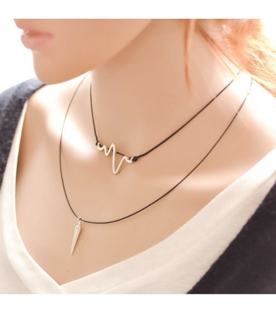 N1361 - Simple Heart Beat Lovers Necklace
