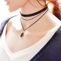 N1438 -  Multilayer Stoned Necklace