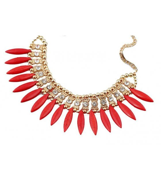 N1451 - Red Stone Short para necklace