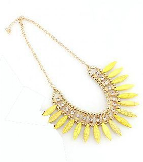 N1452 - Yellow Stone short para necklace