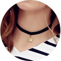 N1577 - pointed star short necklace