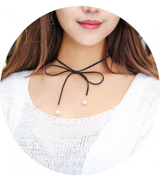N1578 - Bowknot pearl sweater chain