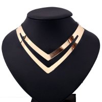 N1587 - hot metal collar necklace