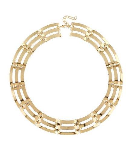 N1590 - metal texture exaggerated necklace