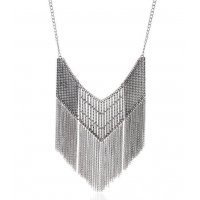 N1591 - hollow chain pattern tassel necklace